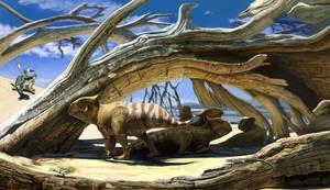 Protoceratops take shelter