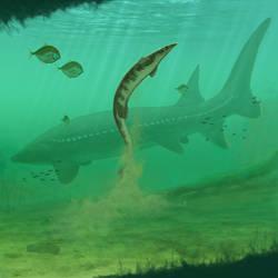 Giant sturgeon and Plioplatecarpus