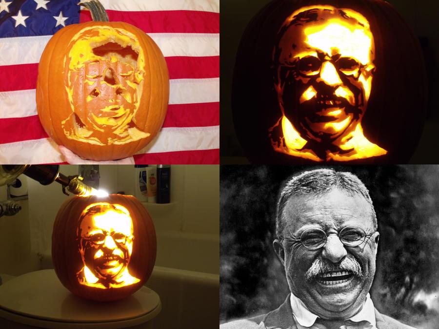 Teddy Roosevelt Pumpkin by habeasporpoise