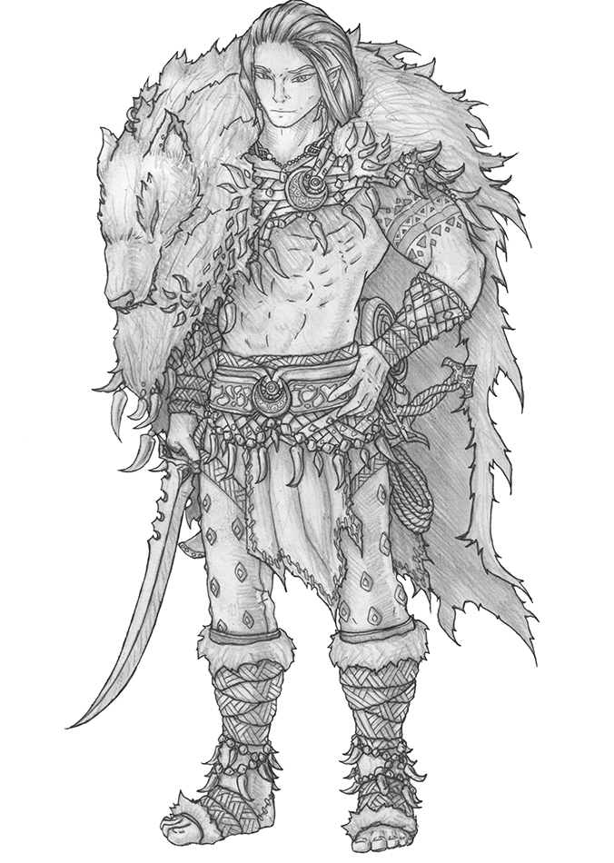 Soulafein Saerah (redesign) - Wood elf Barbarian