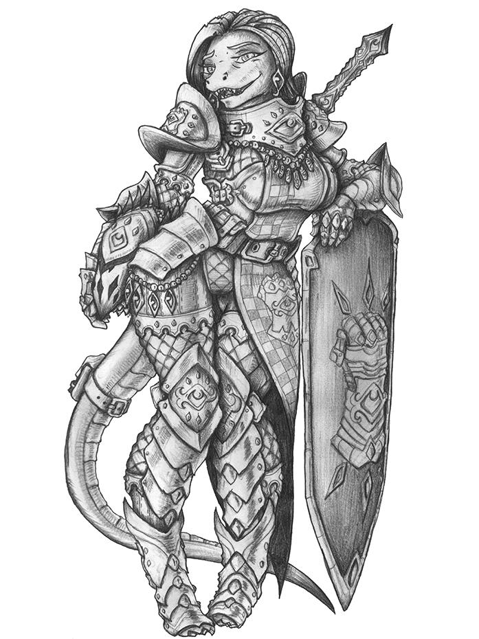 [COMMISSION] Alora Helmidrid - Lizardfolk Cleric