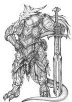 Ravodaar Farnuus - Silver Dragonborn Paladin by s0ulafein