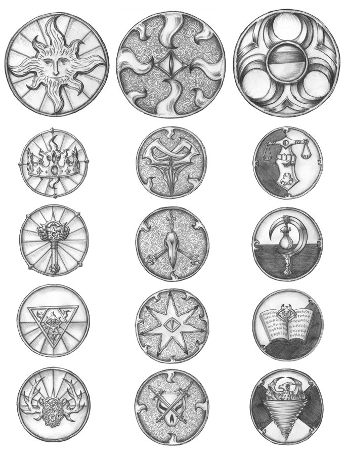 [COMMISSION] Aerselion pantheon's Holy Symbols by s0ulafein