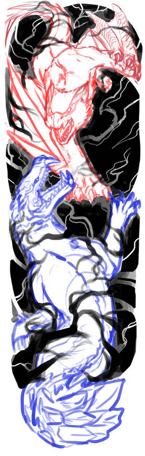Odogaron VS Nargacuga arm tattoo sketch