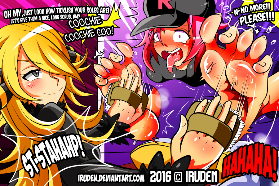 Rocket Grunt x Cynthia - Tickle Commission by iruden