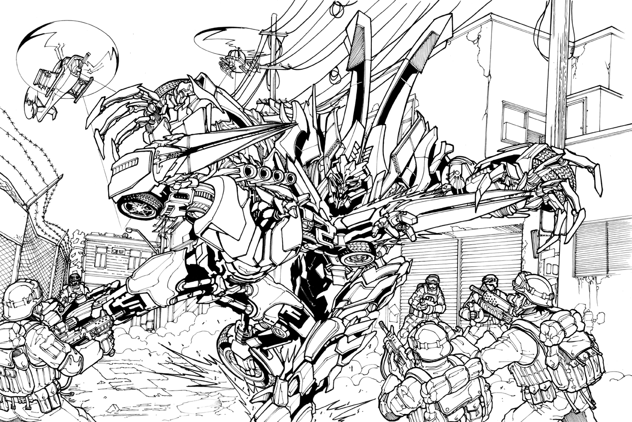transformers fighting coloring pages - photo#32