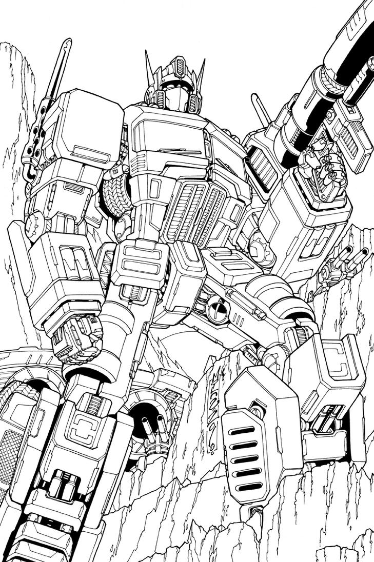 Optimus prime lineart by markerguru on deviantart for Transformers g1 coloring pages