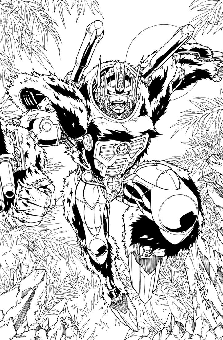 Optimus Primal lineart by markerguru