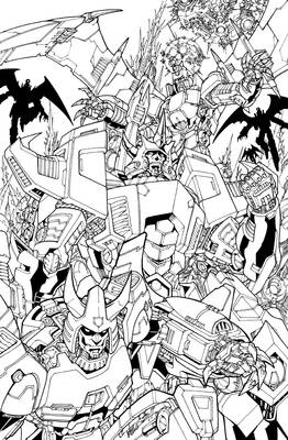 galvatron and crew lineart