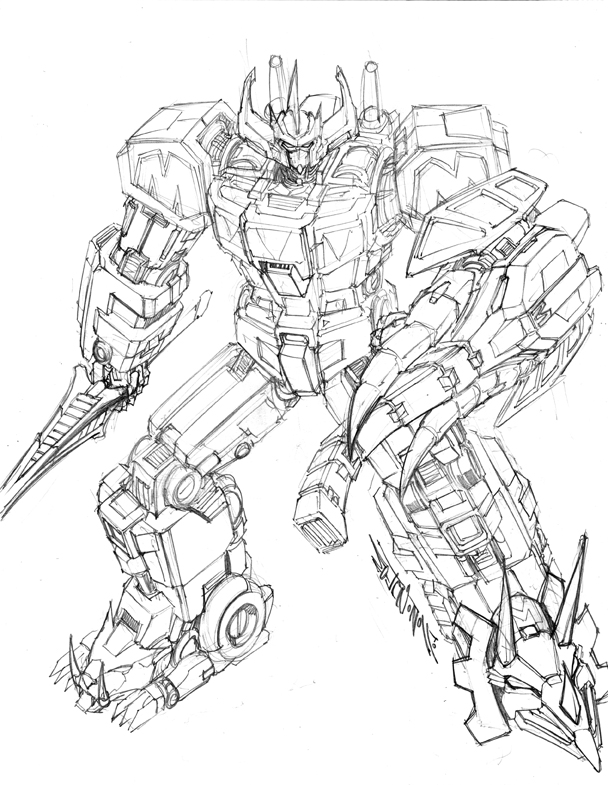 Megazord by markerguru on deviantart for Power rangers megazord coloring pages