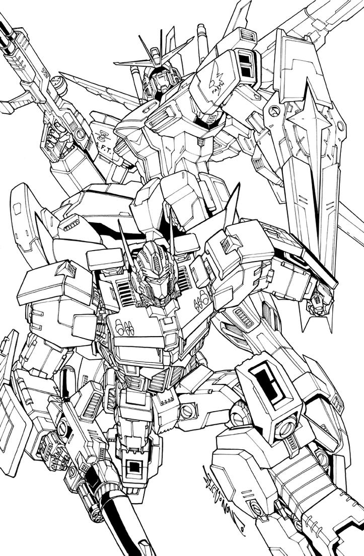gundam and prime commission by markerguru