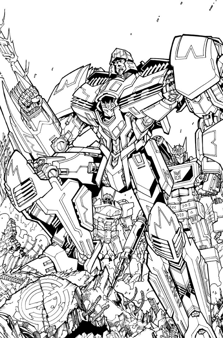tf spotlight megatron ri cover lineart by markerguru on deviantart