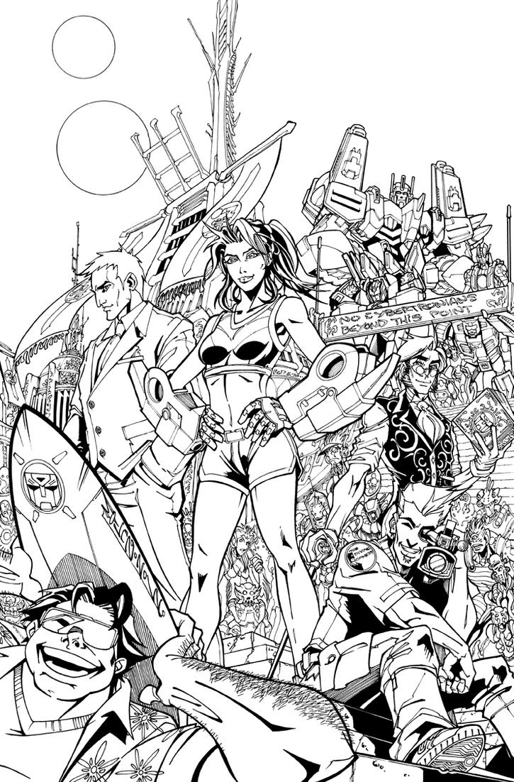 TF MTMTE 13 cover lineart by markerguru