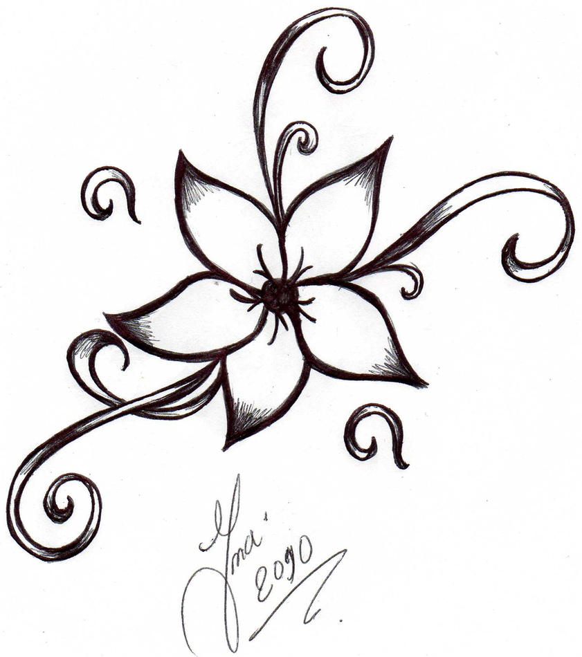 Cool Drawing Flower Tattoo Designs