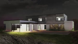 Family house study - night view