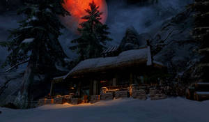 Cozy cabin under the Red Moon