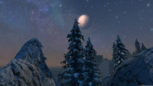 SkyrimSE:Snow covered Treetops and the Silver Moon