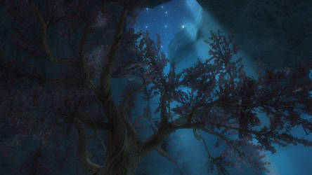 SkyrimSE: The Great Tree by Moonlight