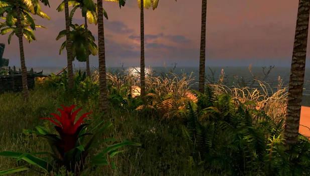 Skyrim SE: Tropical Island the beach at sunset