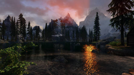 Skyrim SE: The early sun over the lake