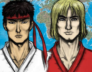 Ryu and Ken, colored