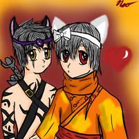 Neko and Wolf by PrinceNeoShnieder
