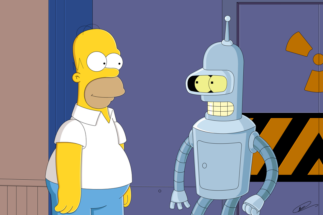 When Bender met Homer by Spider-Matt
