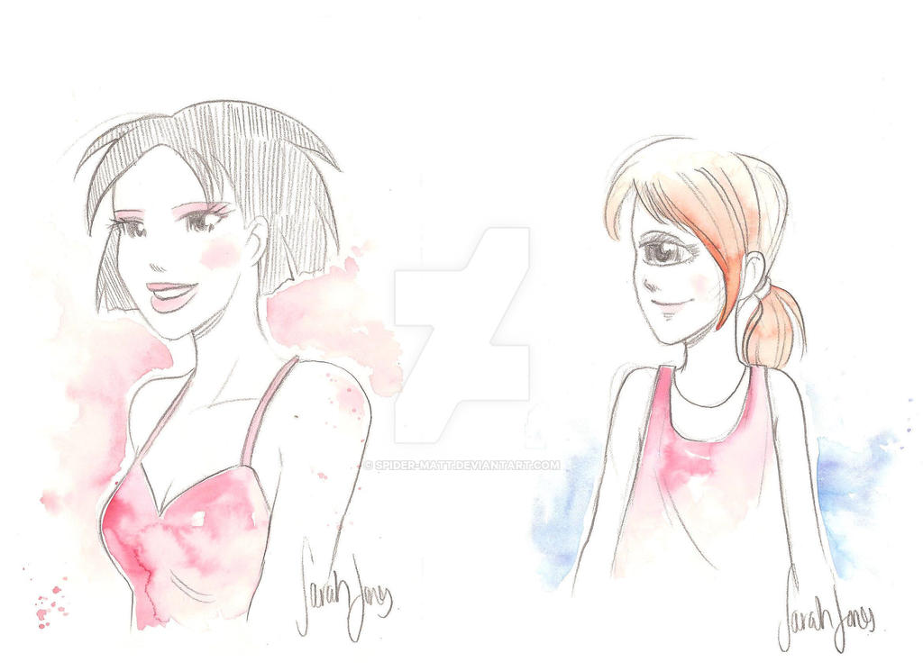Amy Wong and Elena Fry Commissions by Sarah Jones by Spider-Matt