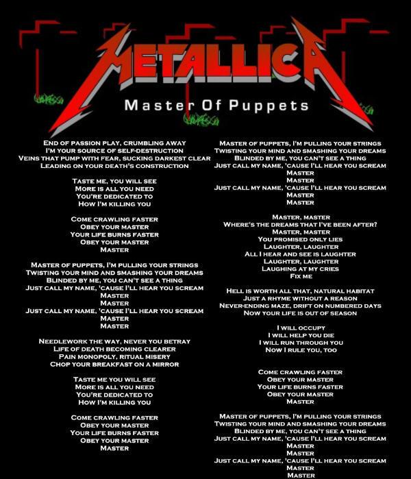 Metallica Master Of Puppets Lyrics | Auto Design Tech