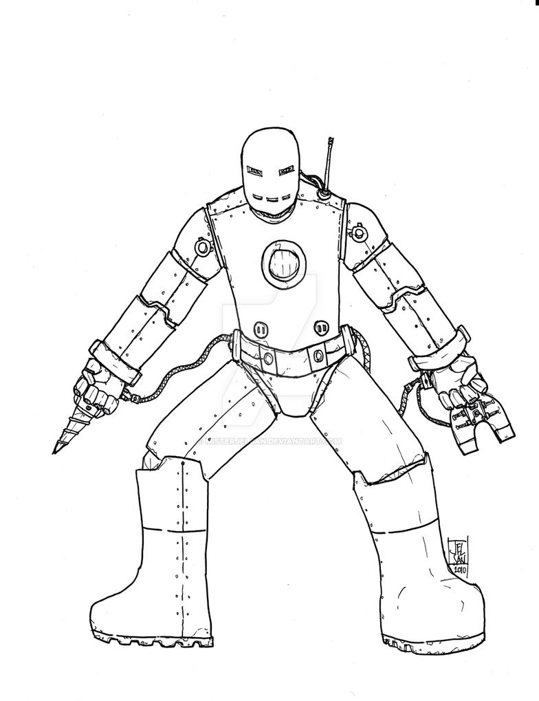 iron man mk1 lineart by misterjelsan on deviantart