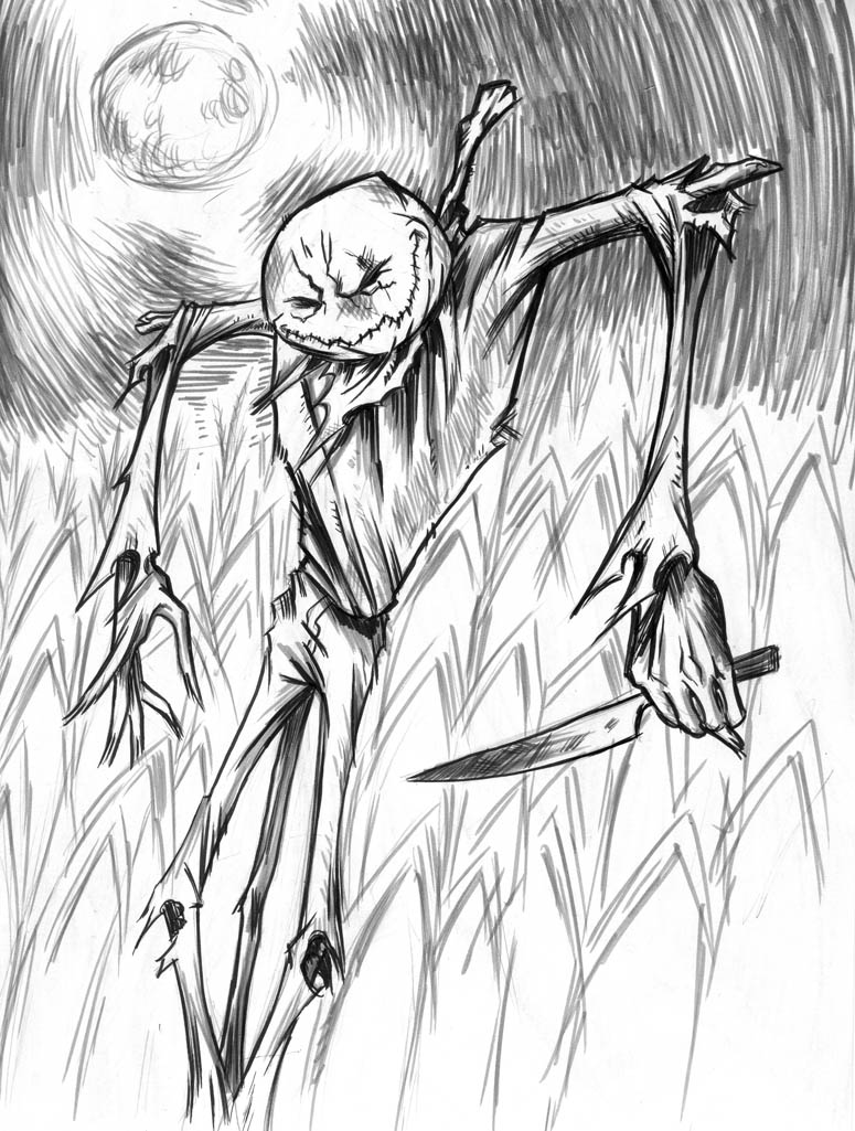scary scarecrow drawings