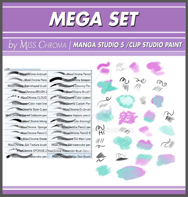 Mega Set DIGITAL BRUSHES for Manga Studio5 by MissChroma