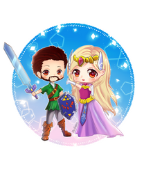 chibi  couple commission dress like Link E Zelda