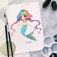 chibi watercolor  rainbow marmaid