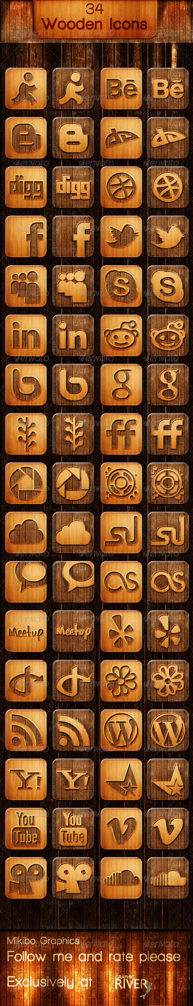 34 Wooden Icons by MikiMikibo