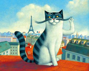 a cat in Paris by Aguaplano