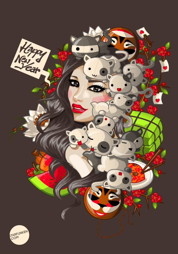 Happy New Year - Vector by IYU-IYU