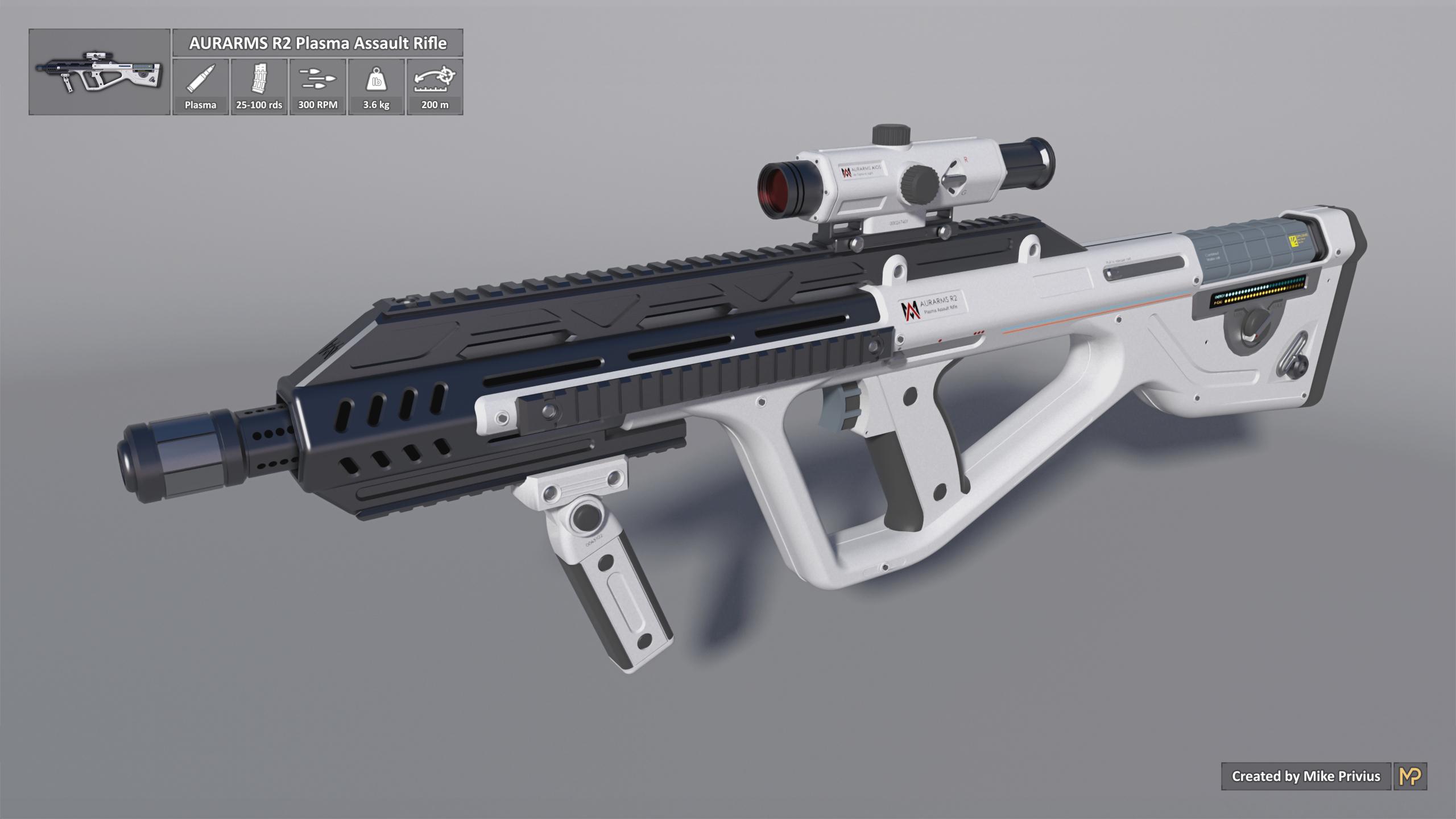 [SketchUp] AURARMS R2 Plasma Assault Rifle