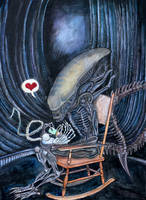 xenomorph stay-at-home dad by adambeebe