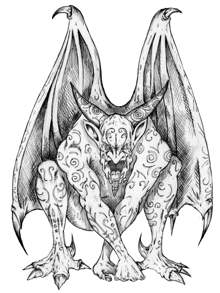 Line Drawing Yak : Gargoyle by saintyak on deviantart
