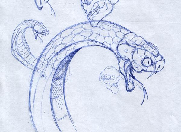 Snake head sketch by SaintYak