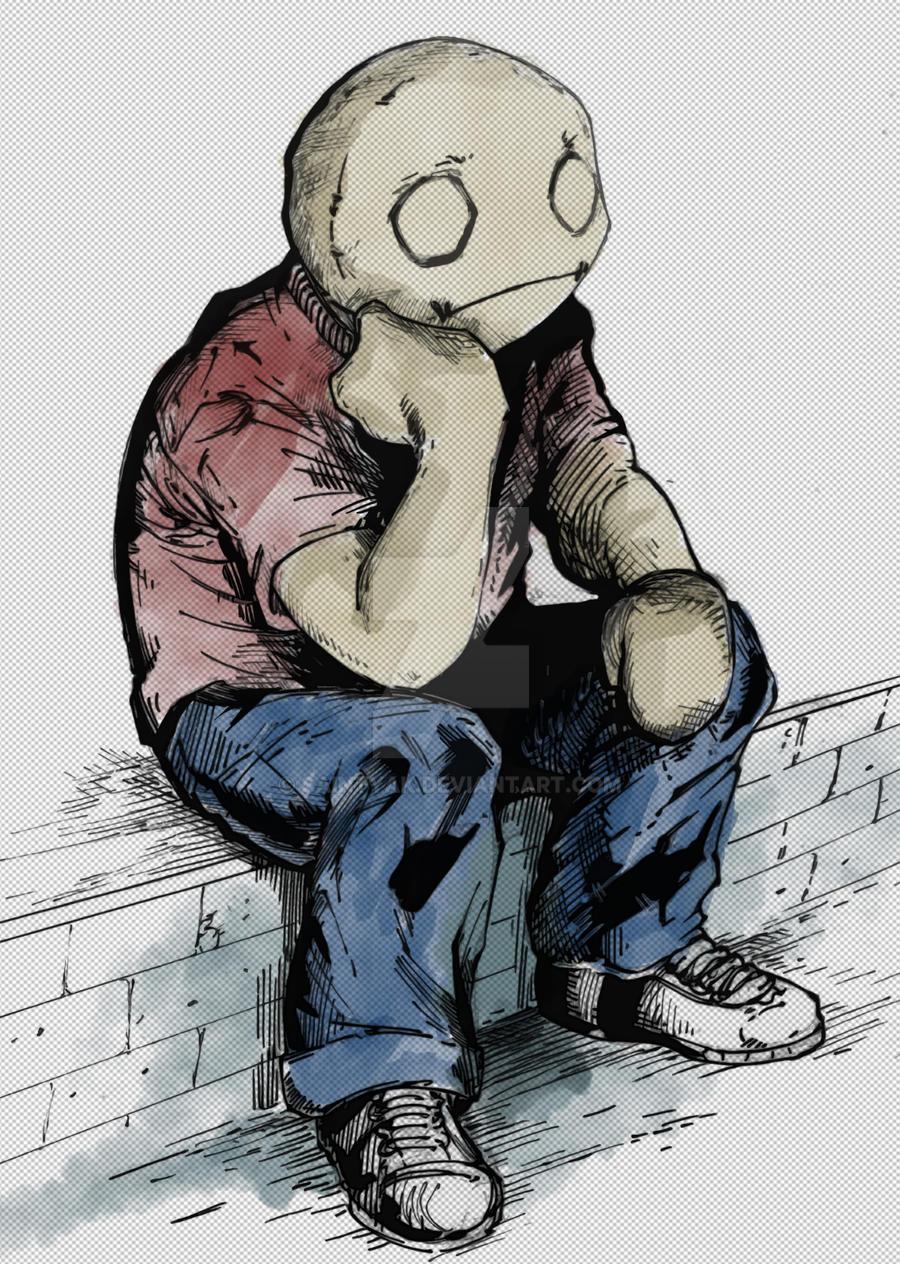 Depressed boy drawing