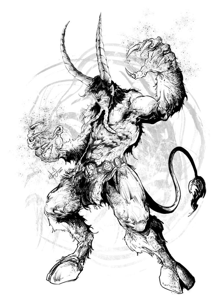 Satyr casting a spell by SaintYak