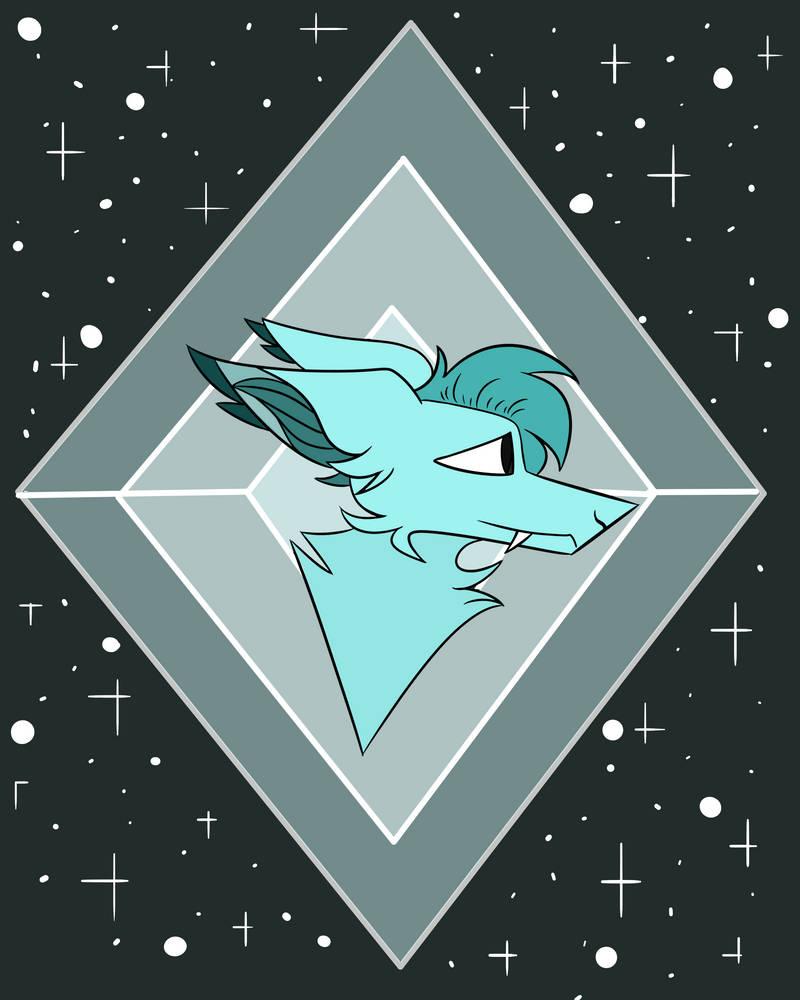 Blue galaxy diamond wolf by xXPixelTheDragonXx