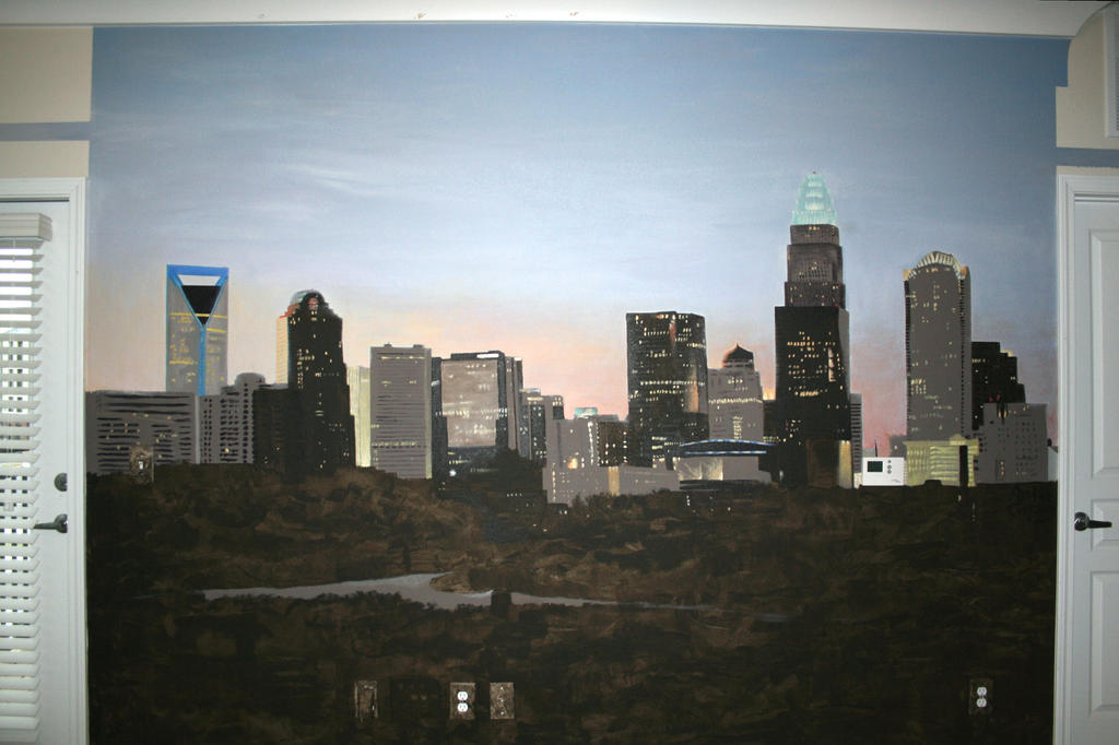 Charlotte Skyline by OneLifeOneArt