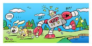 Robot asechando.