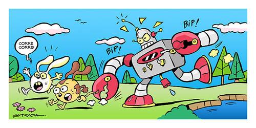 Robot asechando. by ZeroCartoon