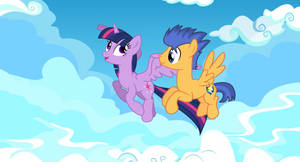 Twilight Sparkle and Flash Sentry flying together