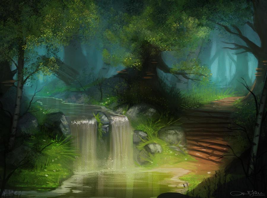 Twin Waterfall by Amanda-Kihlstrom