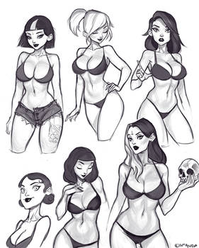 Pinup/Goth girl Sketches